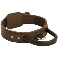 Extra Durable Leather Doberman Collar with Handle for Attack Training
