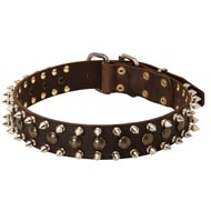 3 Rows Leather Spiked and Studded Doberman Collar