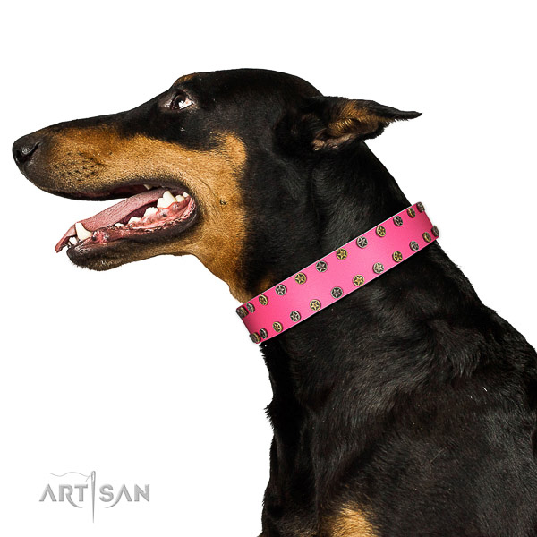 Adjustable full grain natural leather dog collar with decorations