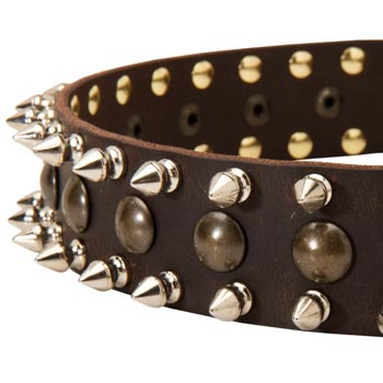 Doberman Leather Collar with Hand Set Spikes  And Studs