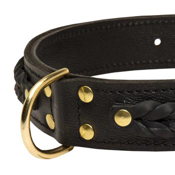 Doberman Wide Leather Collar with D-ring