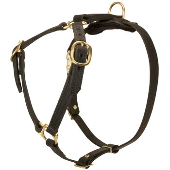 Leather Doberman Harness Light Weight Y-Shaped for Tracking Dog