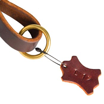 Leather Pull Tab for Doberman with O-ring for Leash Attachment